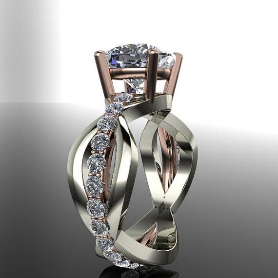 زفاف - Forever Brilliant Moissanite Unique Engagement Ring Cushion Cut 4.70 CTW