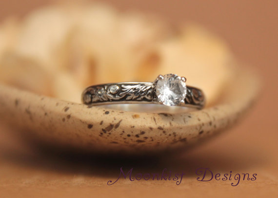 Wedding - White Sapphire Engagement Ring in Sterling Silver - Floral Scroll and Vine Pattern Band - Commitment Ring, Promise Ring - Tendril and Vine