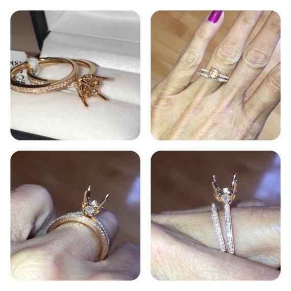 زفاف - Vintage Engagement Ring Semi Mount & Wedding Band Set 18k Rose Gold Round Diamonds VINTAGE Engagement RING Wedding Band SET price