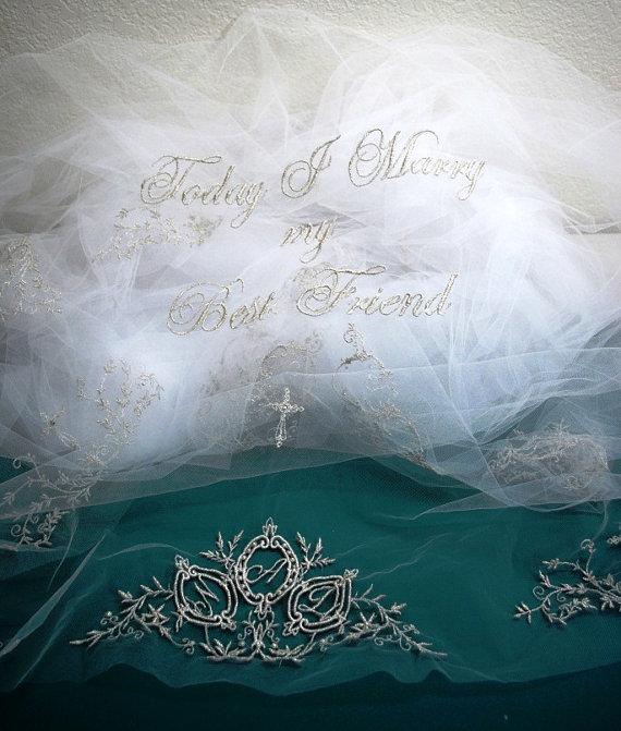 Свадьба - Swarovski Crystal Embellished Monogrammed Phrase Embroidered Veil