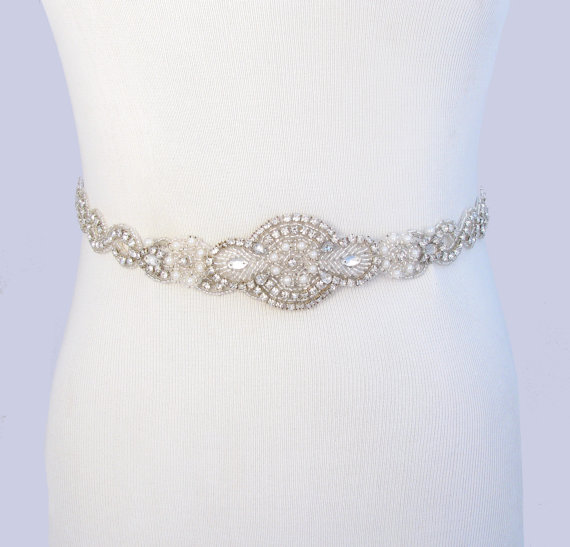Свадьба - Infinity Wedding Dress Sash, Satin Ribbon Bridal Belt, Silver Crystal Rhinestone Sash Belt, Jeweled Beaded Pearl Sash, 35 Satin Colors