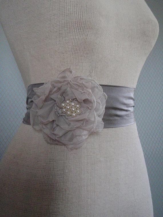 Mariage - Sash , Bridal  Sash,  Grey Belt , Handmade Sash  ,Bridal Sash , Wedding Sash With a Unique Design Flower