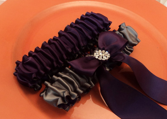 Свадьба - Simple Satin Deluxe Dual Color Bridal Garter Set with Rhinestone Accent..You Choose The Colors..shown in pewter gray/eggplant deep purple