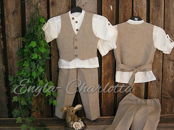 Boys Linen Suit Rustic Ring Bearer Outfit Toddler Boy Formal Wear