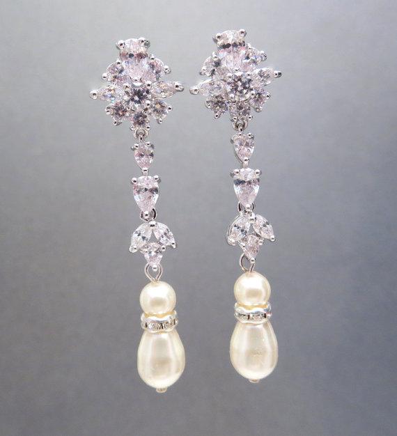 Wedding - Long Bridal earrings, Crystal Wedding earrings, Wedding jewelry, Rhinestone earrings, Pearl earrings, Bridal jewelry, cz earrings