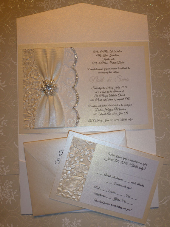 "Wedding - Lace Invitation ,Ivory Wedding Invitation (sample) -""Inspirational Love """
