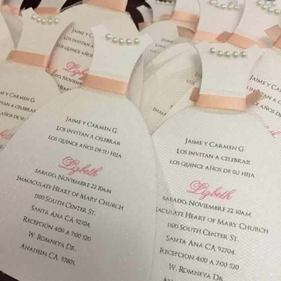 Mariage - Quinceanera dress invitation, wedding dress invitations, bachelorette, bridal shower