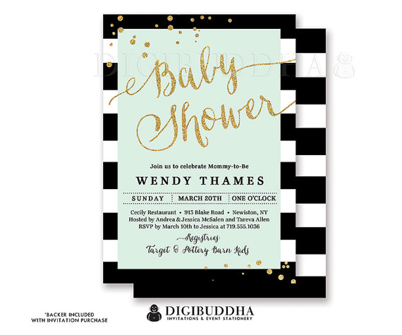 Black White Stripe Baby Shower Invitation Mint Green Modern Gold Glitter Whimsical Gender Neutral Free Shipping Or Diy Printable Wendy