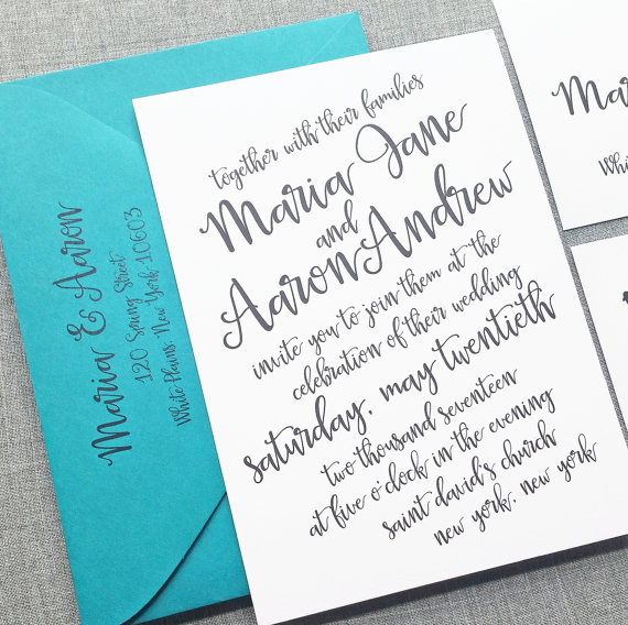New Maria Black Script Wedding Invitation Sample Hand