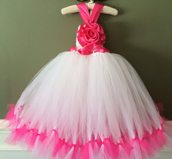 Wedding - Hot Pink Tutu Dress Set , Fully Customizable, Special Occassion Dress, Flower Girl Dress, Baptism, Christening, Birthday Tutu