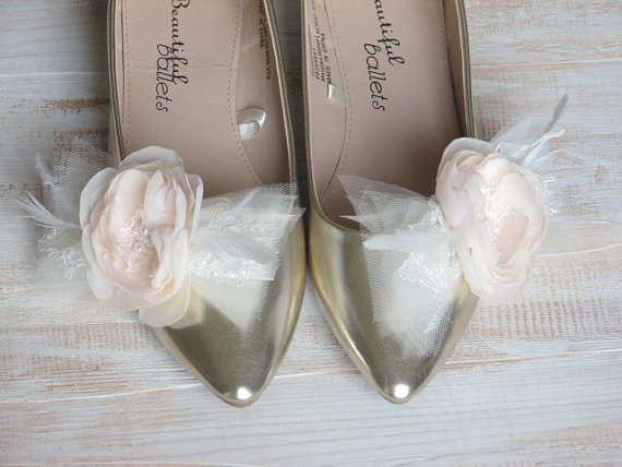 a8b783629baf1 Wedding Shoe Clips Champagne Shoe Clips Wedding Flower Champagne ...