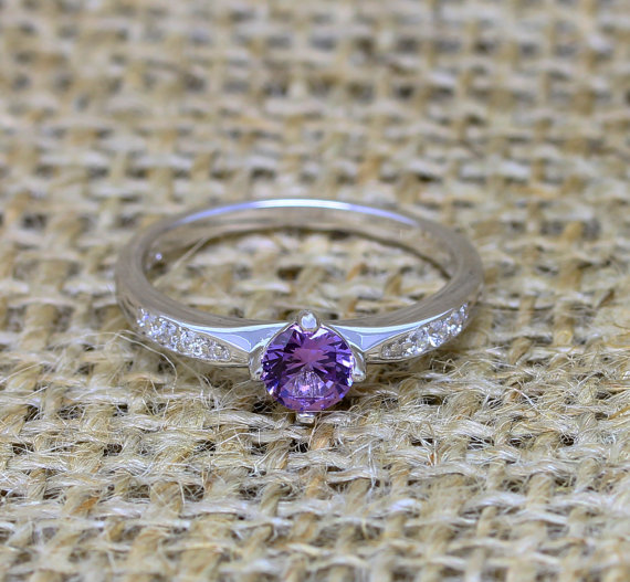 Wedding - Genuine Alexandrite Solitaire engagement ring - available in sterling silver or white gold - handmade engagement ring - wedding ring