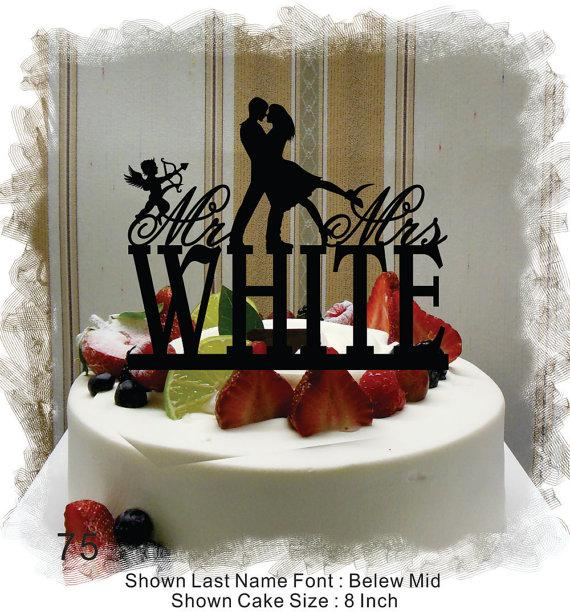 Wedding - Silhouette  Cake Topper , Monogram Cake Topper Mr and Mrs  With Your Last (Family)Name - Handmade Custom Rustic Cupid Wedding Cake Topper