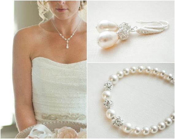 Mariage - Bridal Jewelry SET, Wedding Necklace SET, Bridal Necklace and Earrings Set