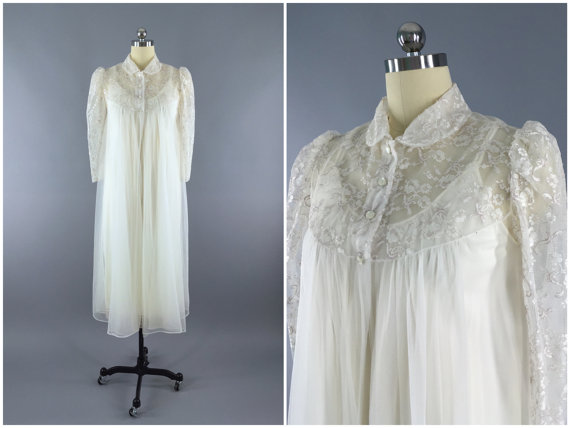 Wedding - Vintage 1960s Peignoir Set / Robe and Nightgown /  60s Wedding Lingerie / White Ivory Lace Chiffon / Size Medium M