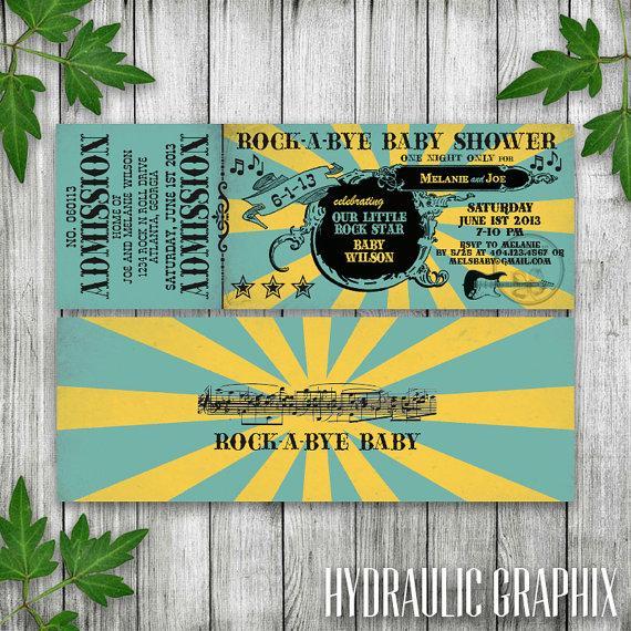 Rock N Roll Baby Shower Ticket Invitation Printable Ticket