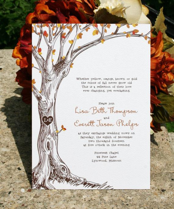 Wedding - Fall Wedding Invitation - Sketched Fall Tree with Carved Initials - Sample