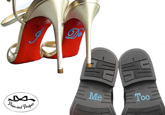 Mariage - I Do Me Too Shoe Stickers. Rhinestone I Do Applique for Shoes. Wedding Shoe Stickers. I Do Decals. Me Too Shoe Sticker. I Do Stickers