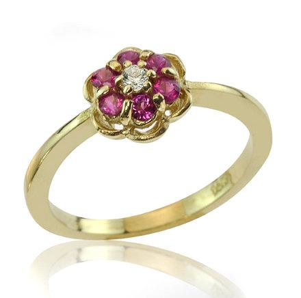 Свадьба - Vintage Style 18K Gold Floral Engagement Ring, Flower Ruby Ring, Ruby Engagement Ring