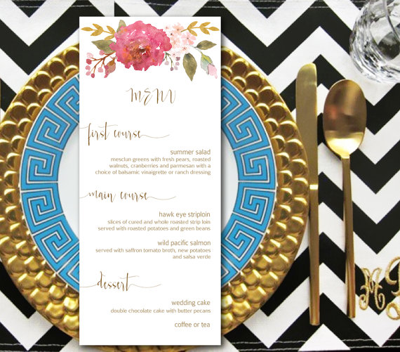 Wedding Menu Printable Garden