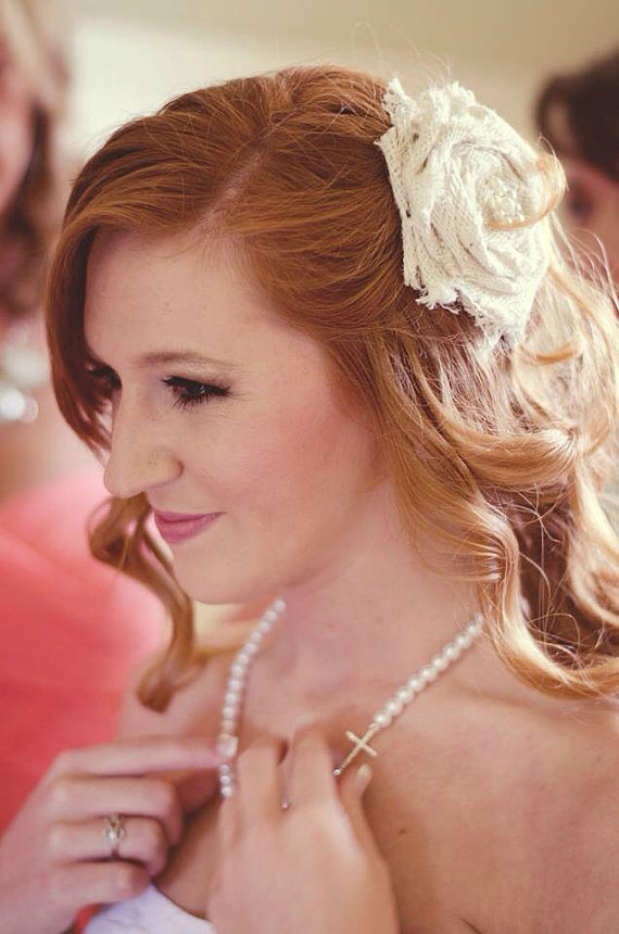 Свадьба - Burlap rolled rosette hair clip bridal headband rose linen Vintage clip metal hard big girl headband flower brides maid rosette brooch