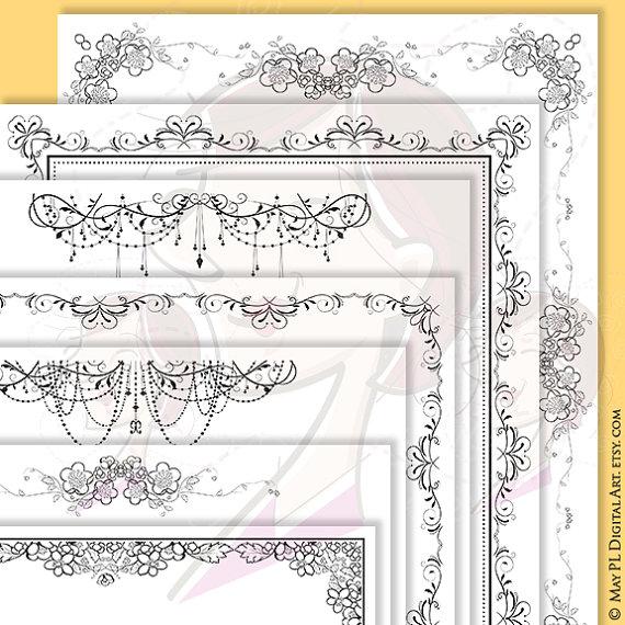 Mariage - Digital Page Border 8x11 Flourish Swirls Orange Blossoms Chandelier DIY Wedding Invitation Stationery Certificate Document Clipart Set 10361