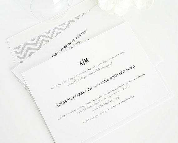 Hochzeit - Classic Grey Wedding Invitation - Grey, Gray, Pewter, Charcoal, Traditional, Elegant - Urban Vintage Wedding Invitation  - Sample Set