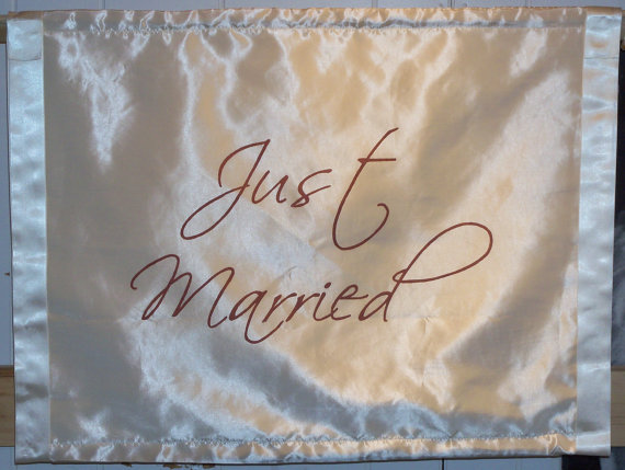 Mariage - Just Married Sign Banner Wedding Ceremony Banner Decoration Ring Bearer Flower Girl Sign Fabric