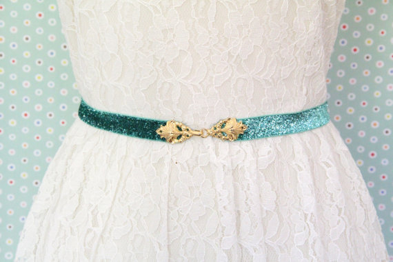 Свадьба - Mint Glitter Elastic With Gold Clasp Buckle Belt,Mint  Bridal Belt, Bridesmaid Belt, Custom Belt