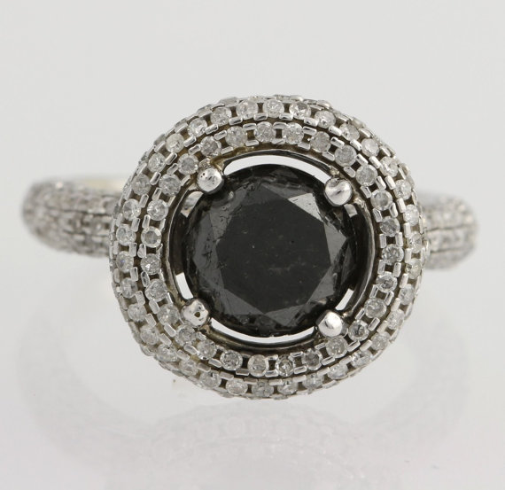 Wedding - Black Diamond Halo Engagement Cocktail Ring - 10k White Gold Round 4.00ctw F9469