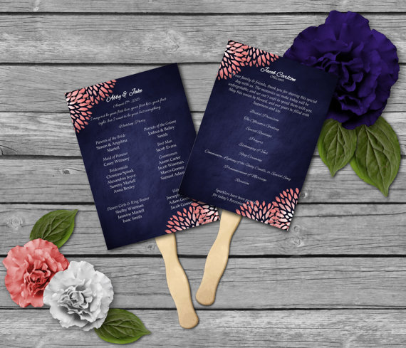 Свадьба - Coral & Navy Wedding Fan Program Template - Navy and Coral Wedding - Matching Signs available