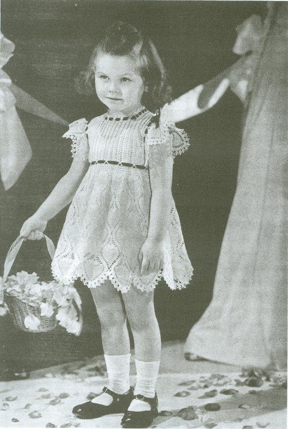Crochet Pattern For Flower Girl Dress : Crocheted Little Girls Flower Girl Dress Pattern PDF ...