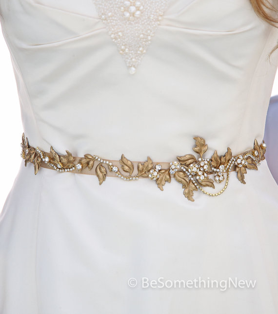 Gold And Champagne Wedding Gown Sash Belt With Brassy Gold Metal ...