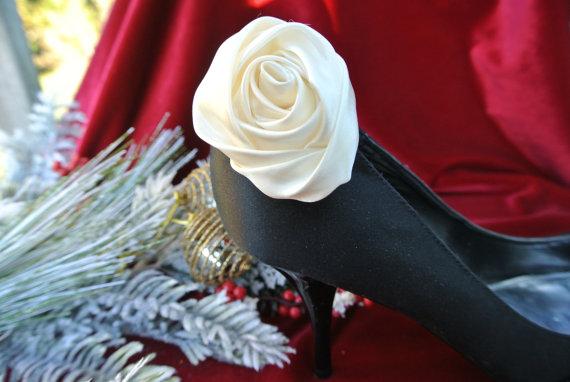 Mariage - Satin Rose Shoe Clip, Bridal Wedding Accessories, 1 Pair