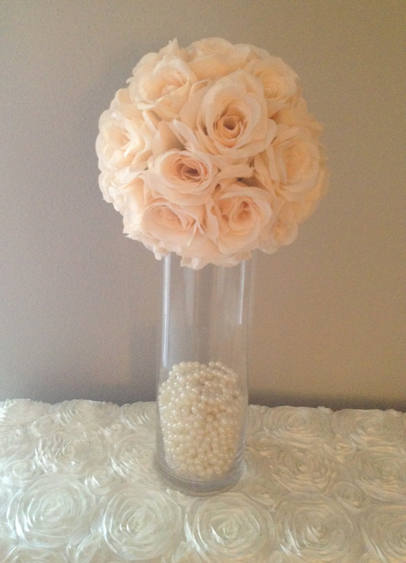 Rose Pomander Centerpiece : Premium soft silk peach blush flower ball wedding