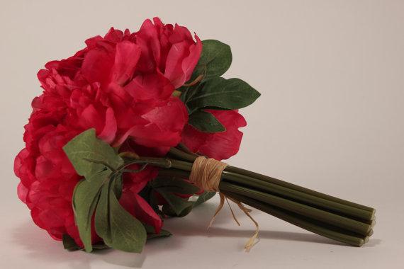 زفاف - Hot Pink Peony Bouquet - Silk Flowers - Wedding Bridal - tossing bouquet - wedding, bridal, party, bridesmaids