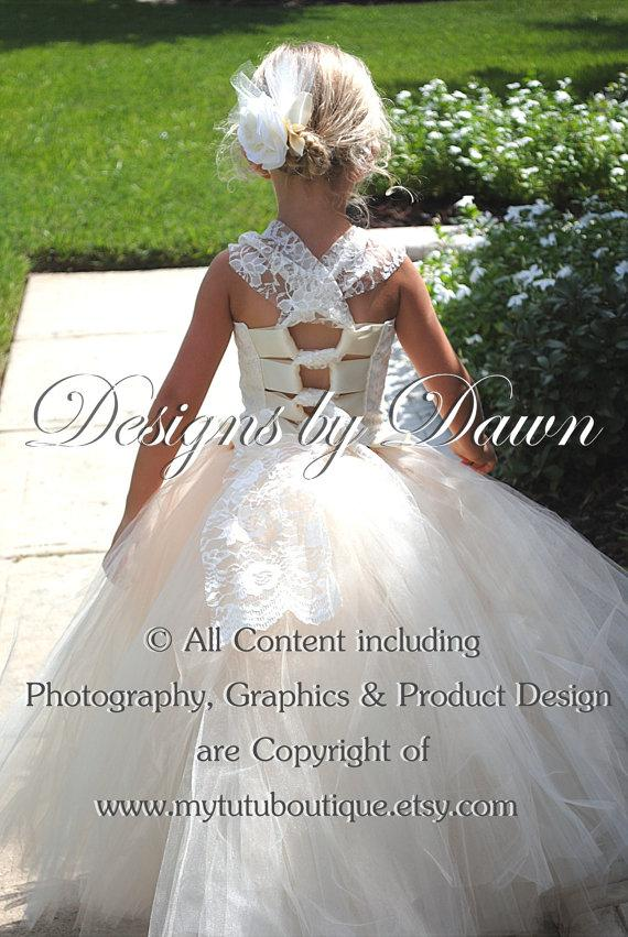 Wedding - This is a private order listing for Shelley White - November - Ivory & Champagne flower girl dress with lace