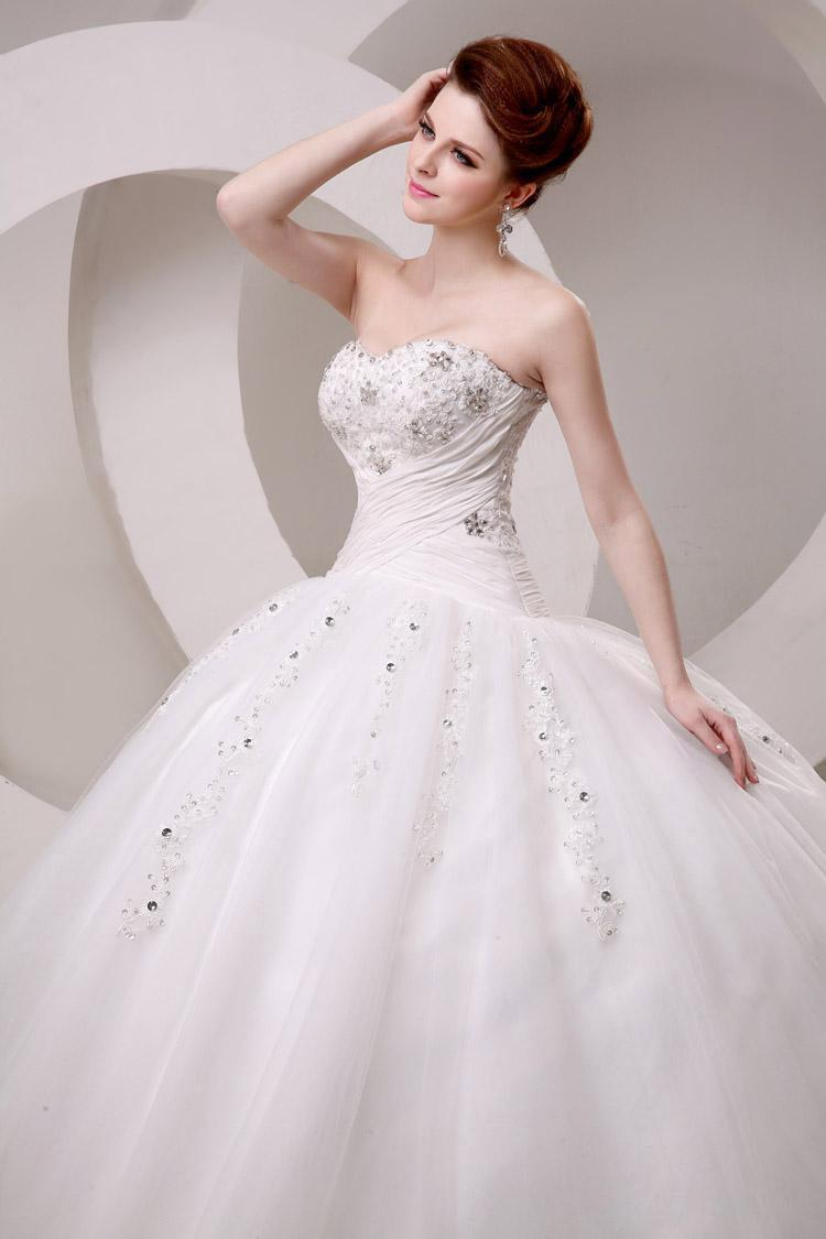 Wedding - 2015 New Arrival Wedding Dresses Crystals Tulle With Beads Lace Applique Floor Length Pleated Ball Gown Wedding Dresses Gowns Lace Up Online with $110.58/Piece on Hjklp88's Store