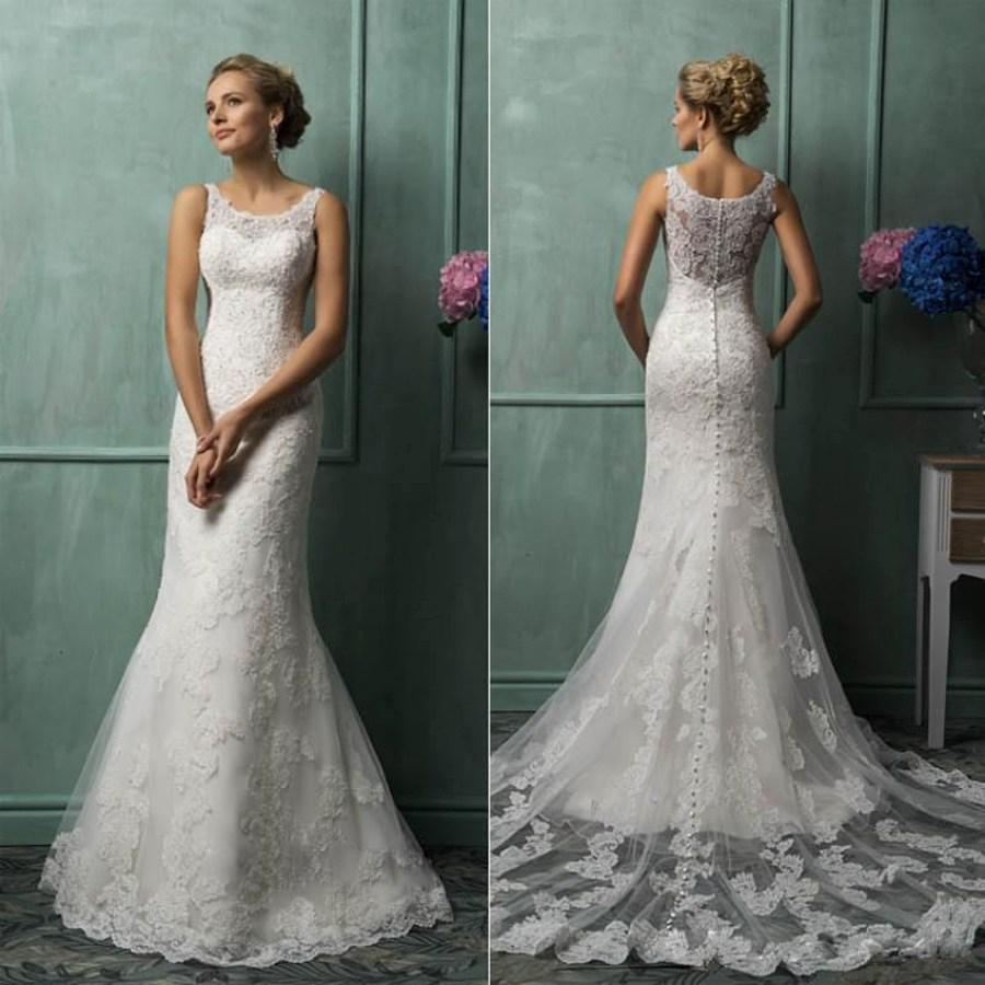 Свадьба - 2015 Amelia Sposa Lace Wedding Dresses With Scoop Sheer Back Covered Button Court Train Church Mermaid Bridal Gowns 2014 AS1280 Online with $131.48/Piece on Hjklp88's Store
