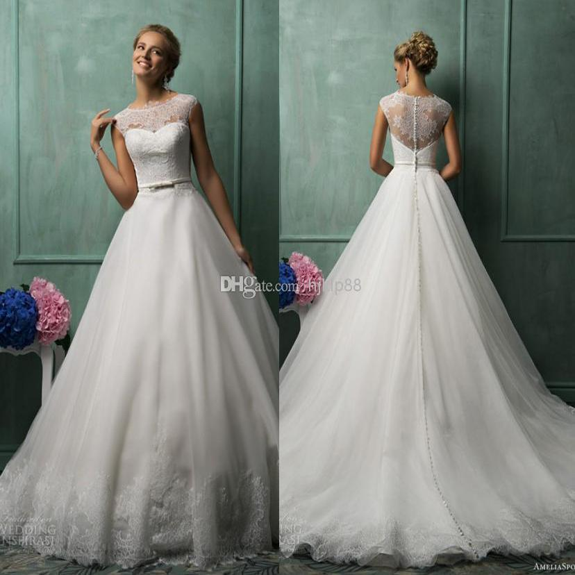 2014 Amelia Sposa Best Selling A Line Jewel Chapel Train White ...