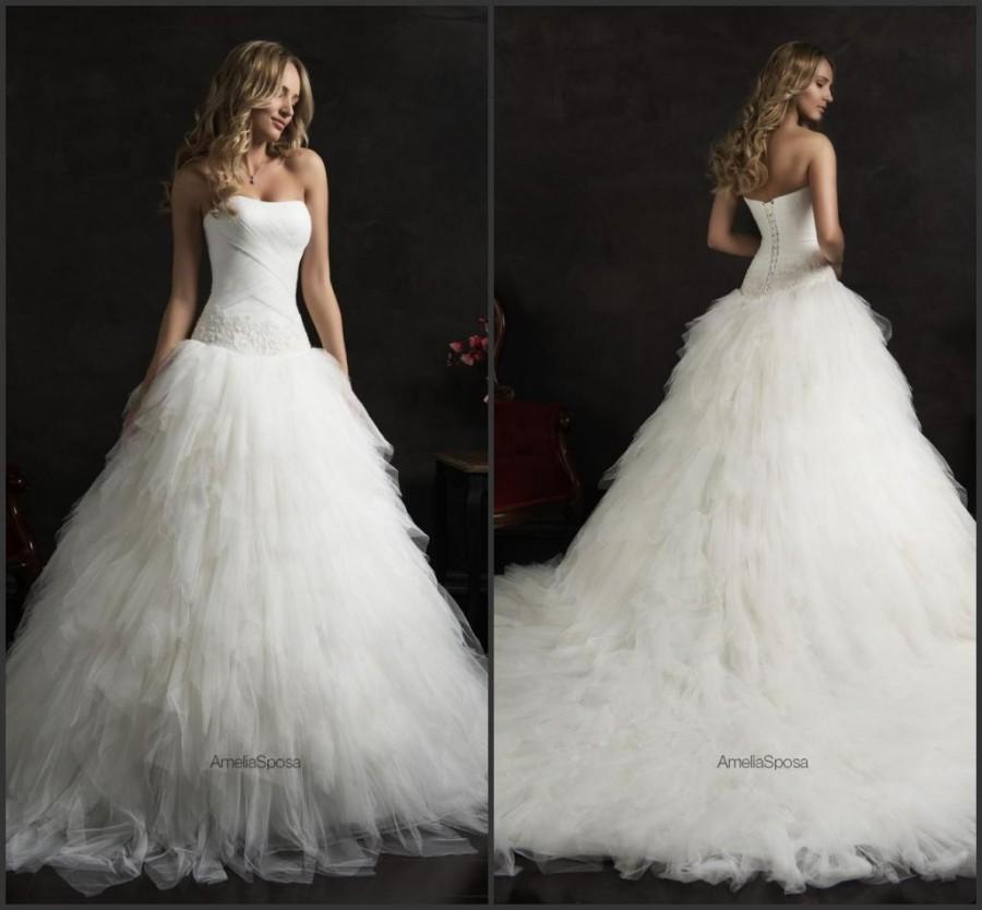 Wedding - 2015 Amelia Sposa Strapless A Line Wedding Dresses Train Bateau Beads Tulle Tiers Sleeveless White Bridal Dresses Court Train Ball Gowns Online with $119.33/Piece on Hjklp88's Store