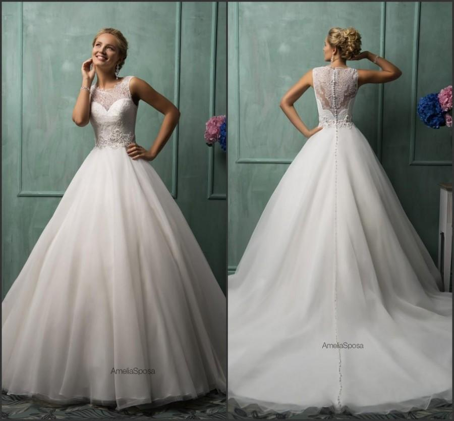 2015 Vintage Amelia Sposa Wedding Dresses Sheer Lace Train Organza