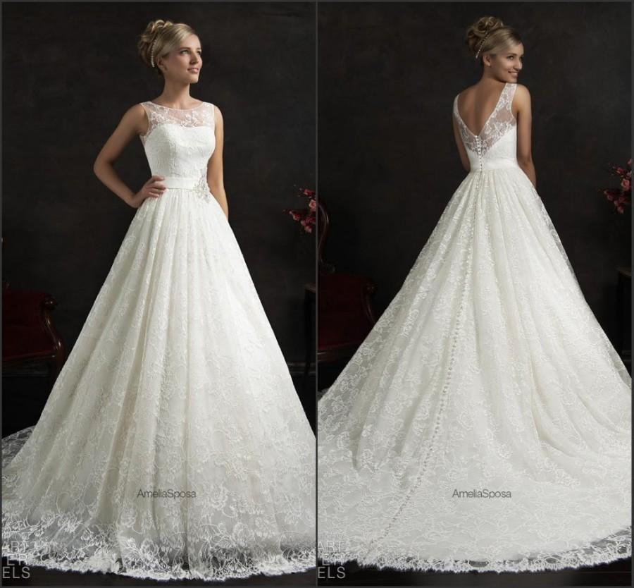 Wedding - Wedding Dresses Vintage Lace Amelia Sposa 2015 A-Line Crew Neck Applique Spring Chapel Bridal Ball Gowns Dress With Sash Beads Custom Online with $131.73/Piece on Hjklp88's Store