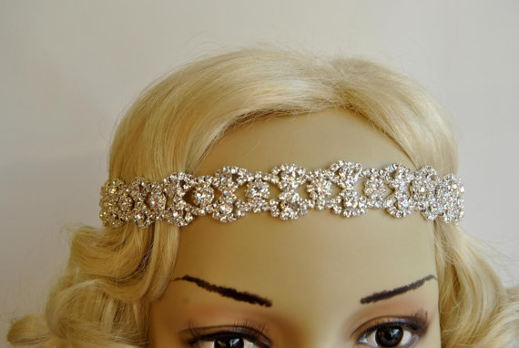 Свадьба - Rhinestone Headband, Bridal Wedding Headband, Crystal Headband, Wedding Halo Bridal tie on ribbon Headband Headpiece, 1920s Flapper headband
