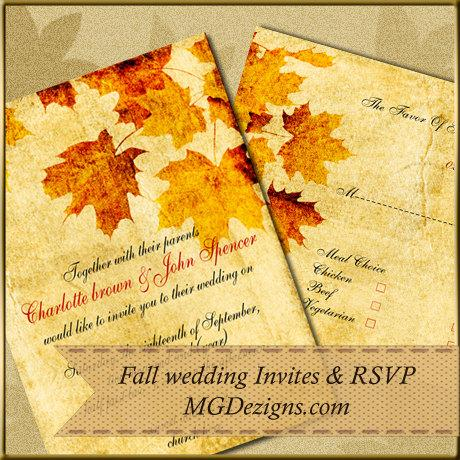 Wedding - Printable Rustic Fall Maple leaves, fall wedding invitations and rsvp template
