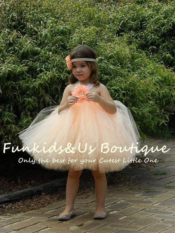 Flower Girl Dress Peach Tutu- Peach Knee Length Tutu Dress-Toddler Baby Girls Weddings Birthdays  sc 1 st  Weddbook & Flower Girl Dress Peach Tutu- Peach Knee Length Tutu Dress-Toddler ...