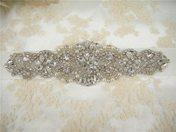 Hochzeit - Sale - Wedding Sash, Bridal Belt, Rhinestones Pearls Wedding Belt, Bridal Sash, Jeweled Wedding Sash, Crystal Rhinestone Belt, Bridal Sash