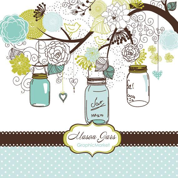Mariage - Hand Drawn Mason Jars, card template and digital papers, Clip art for scrapbooking, wedding invitations, Personal and Small Commercial Use