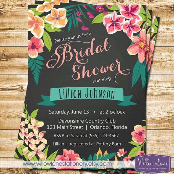 Chalkboard tropical bridal shower invitation island flowers chalkboard tropical bridal shower invitation island flowers hawaiian luau bridal shower invite wedding shower 1395 printable filmwisefo