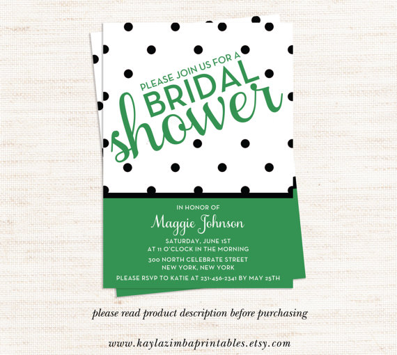 زفاف - Green and Polka Dot Wedding Shower Invitation, Green and Polka Dot Bridal Shower Invitation, Bride to be, Bridal Invite